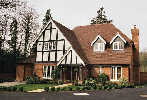 Exterior decorating to Tudor-style house